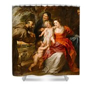 The Holy Family With Saints Francis And Anne And The Infant Saint John The Baptist Shower Curtain