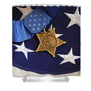 The Medal Of Honor Rests On A Flag Shower Curtain