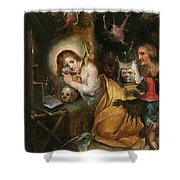The Penitent Mary Magdalene Visited By The Seven Deadly Sins Shower Curtain