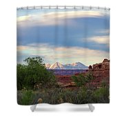 The Shining Mountains Shower Curtain