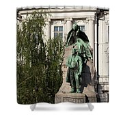 The Statue Of France Preseren And His Muse Shower Curtain