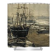 The Thames In Ice Shower Curtain
