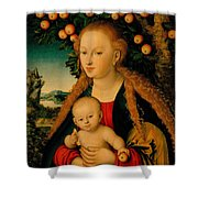 The Virgin And Child Under An Apple Tree Shower Curtain