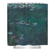 The Water Lilies, Green Reflections Shower Curtain