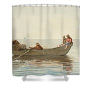 Three Boys In A Dory With Lobster Pots  Shower Curtain