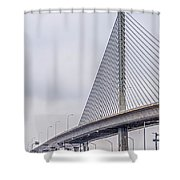 Toledo Ohio City Skyline And Bridges Around Downtown Shower Curtain
