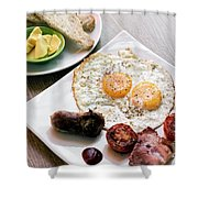 Traditional English British Fried Breakfast With Eggs Bacon And  Shower Curtain