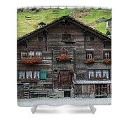 Traditional Swiss Alps Houses In Vals Village Alpine Switzerland Shower Curtain