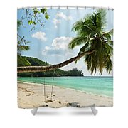Tropical Beach At Mahe Island Seychelles Shower Curtain