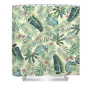 Tropical Leaves Pattern Shower Curtain