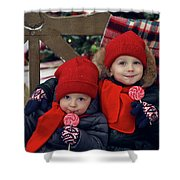 Two Children Sitting On A Bench With Candy Shower Curtain
