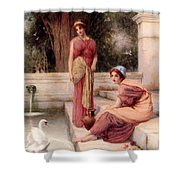 Two Classical Maidens And A Swan Henry Ryland Shower Curtain