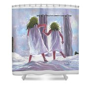 Two Sisters Jumping On The Bed  Shower Curtain