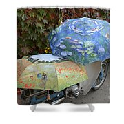 2 Umbrellas On Motorcycle  Shower Curtain