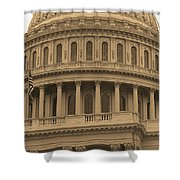 United States Capitol Building Sepia Shower Curtain