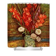 Vase With Red Gladioli  Shower Curtain