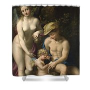 Venus With Mercury And Cupid The School Of Love Shower Curtain