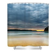 Vibrant Cloudy Sunrise Seascape Shower Curtain