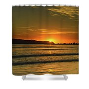 Vibrant Orange Sunrise Seascape Shower Curtain