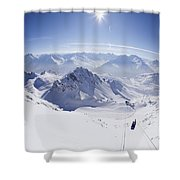 View From Summit Of Valluga, St Saint Anton Am Arlberg Austria Shower Curtain