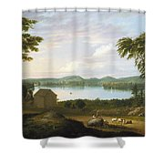 View Of Springfield On The Connecticut River Shower Curtain