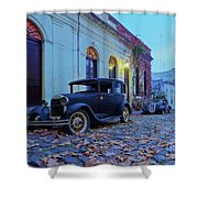 Vintage Cars In Colonia Del Sacramento, Uruguay Shower Curtain