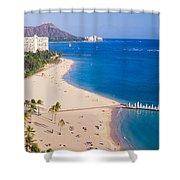 Waikiki Beach And Diamond Head Shower Curtain