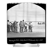 Waiting For Fish Holly Beach Now Wildwood New Jersey 1907 Shower Curtain