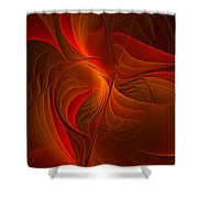 Warmth, Modern Abstract Fractal Art Shower Curtain