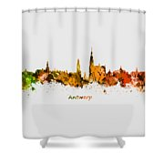 Watercolor Art Print Of The Skyline Of Antwerp In Belgium Shower Curtain