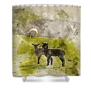 Watercolor Painting Of Beauitful Landscape Image Of Newborn Spri Shower Curtain