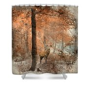 Watercolour Painting Of Beautiful Image Of Red Deer Stag In Fogg Shower Curtain