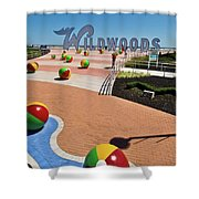 Wildwood's Sign, Boardwalk Wildwood, Nj. Copyright Aladdin Color Inc. Shower Curtain