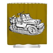 Willys World War Two Army Jeep Illustration Shower Curtain