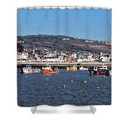 Winter Harbour - Lyme Regis Shower Curtain
