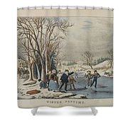 Winter Pastime Shower Curtain