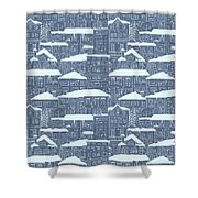 Winter Town Pattern  Shower Curtain