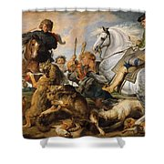 Wolf And Fox Hunt Shower Curtain