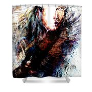 Woman And Flying Eagle. Beautiful Painting Illustration Collage Shower Curtain