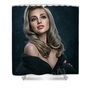 Woman In Big Curls Hollywood Glam Look Shower Curtain