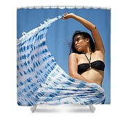 Woman In Sarong Shower Curtain