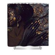 Woman In Splattered Golden Facial Paint Shower Curtain