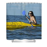 Woman Kayaking Shower Curtain