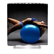 Woman On A Ball Shower Curtain