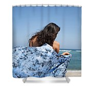 Woman On Beach Shower Curtain