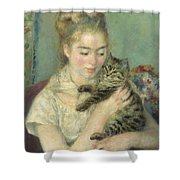Woman With A Cat Shower Curtain