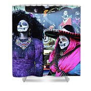 2 Women Day Of The Dead  Shower Curtain