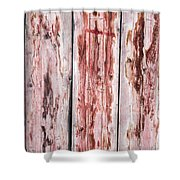 Wood Background With Faded Red Paint Shower Curtain