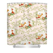 Woodland Fairytale - Animals Deer Owl Fox Bunny N Mushrooms Shower Curtain