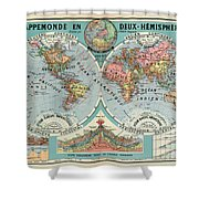 World Map In Two Hemispheres  Shower Curtain